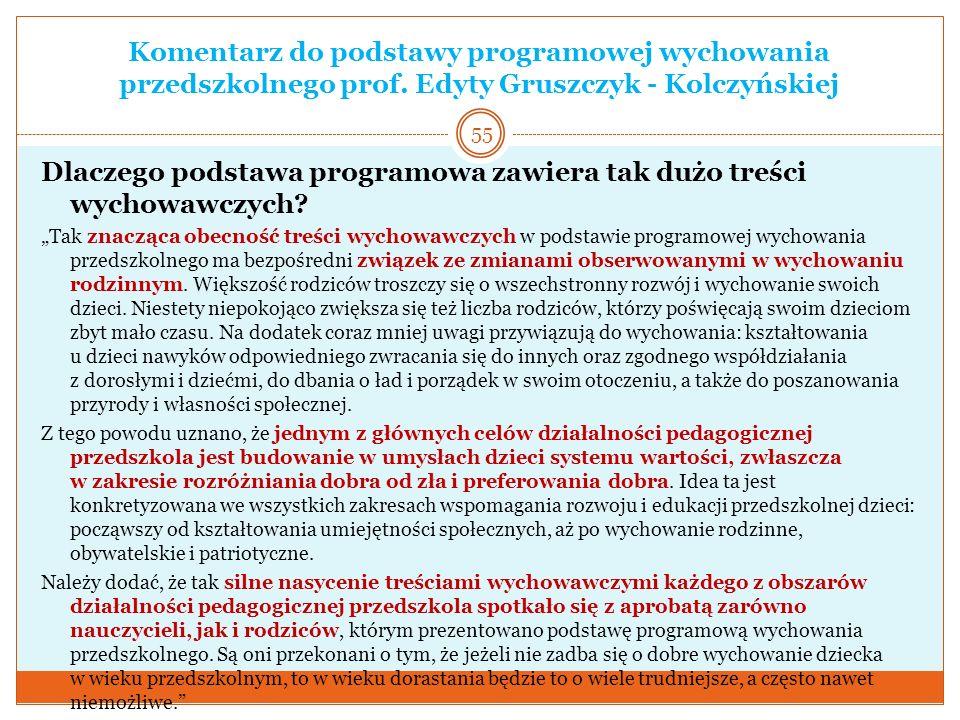 Komentarz do podstawy programowej wychowania przedszkolnego prof. Edyty Gruszczyk - Kolczyńskiej Dlaczego podstawa programowa zawiera tak dużo treści