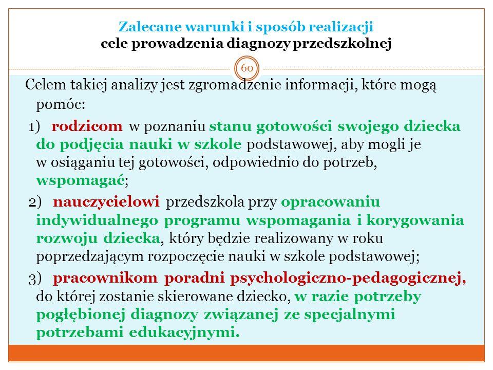 Zalecane warunki i sposób realizacji cele prowadzenia diagnozy przedszkolnej Celem takiej analizy jest zgromadzenie informacji, które mogą pomóc: 1) r
