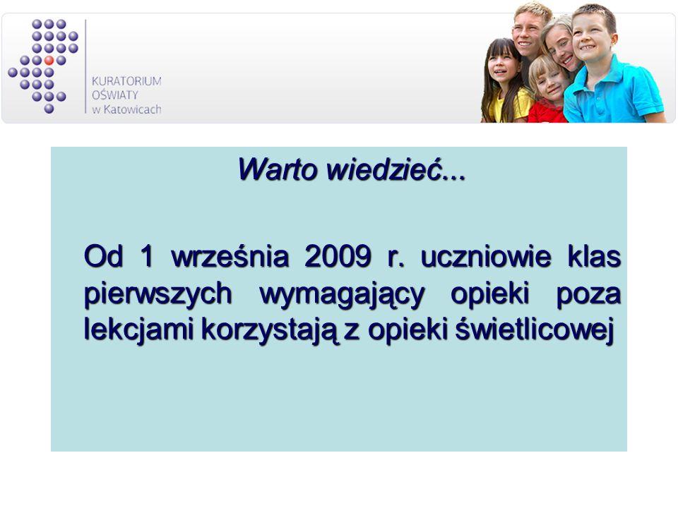 Warto wiedzieć... Warto wiedzieć... Od 1 września 2009 r.