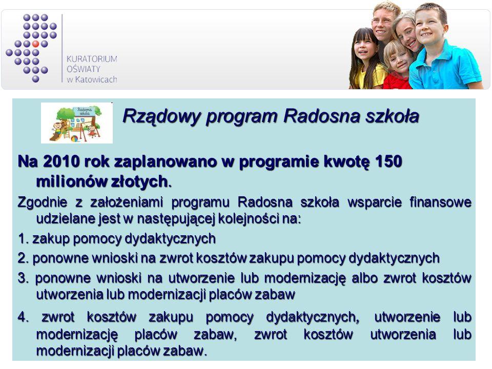 Rządowy program Radosna szkoła Rządowy program Radosna szkoła Na 2010 rok zaplanowano w programie kwotę 150 milionów złotych.