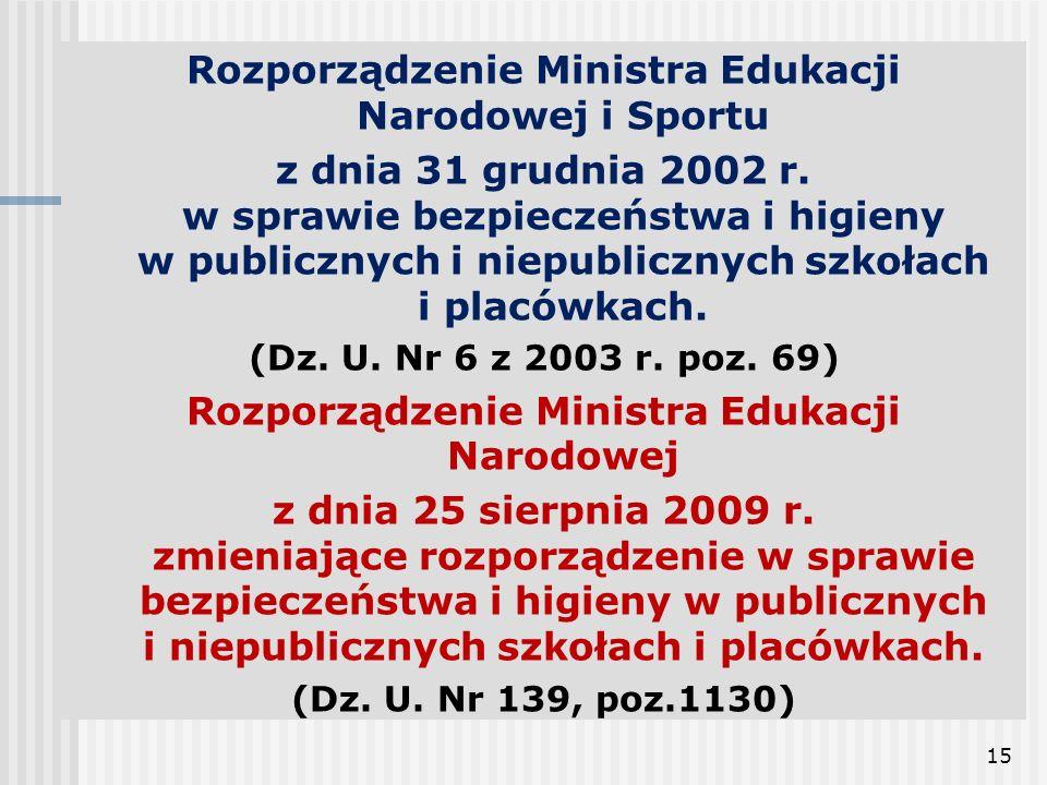 15 Rozporządzenie Ministra Edukacji Narodowej i Sportu z dnia 31 grudnia 2002 r. w sprawie bezpieczeństwa i higieny w publicznych i niepublicznych szk