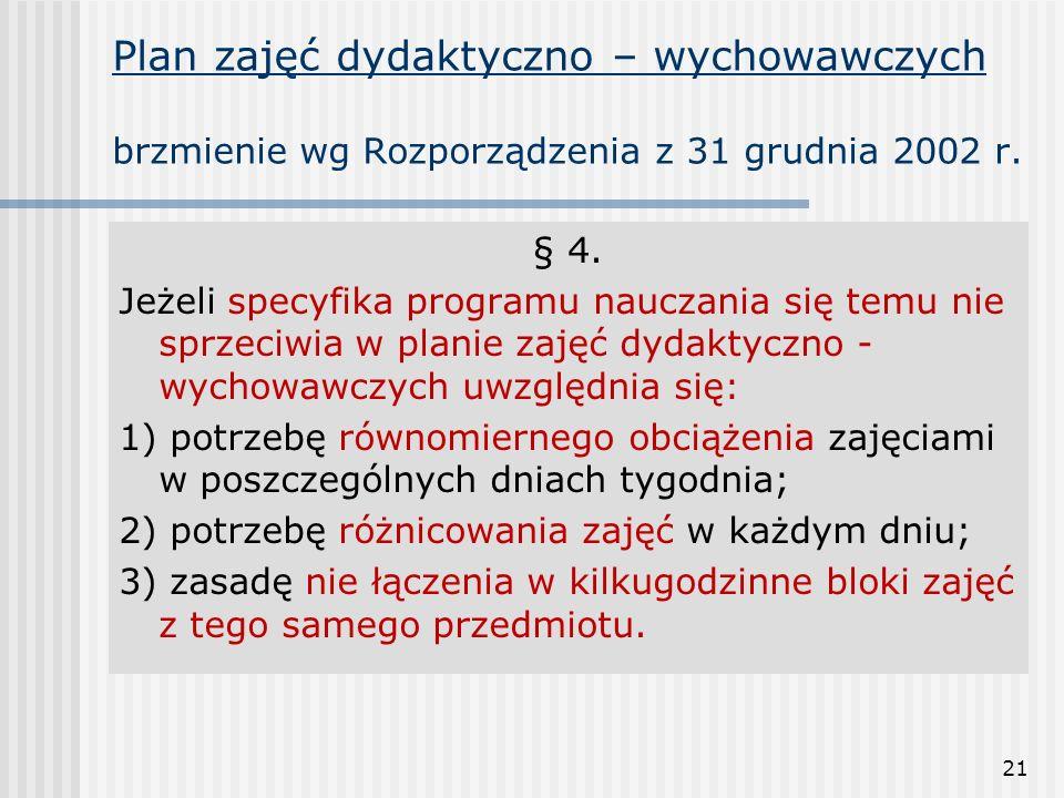 21 Plan zajęć dydaktyczno – wychowawczych brzmienie wg Rozporządzenia z 31 grudnia 2002 r. § 4. Jeżeli specyfika programu nauczania się temu nie sprze