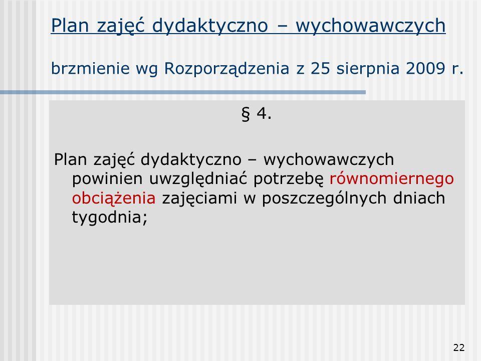 22 Plan zajęć dydaktyczno – wychowawczych brzmienie wg Rozporządzenia z 25 sierpnia 2009 r. § 4. Plan zajęć dydaktyczno – wychowawczych powinien uwzgl