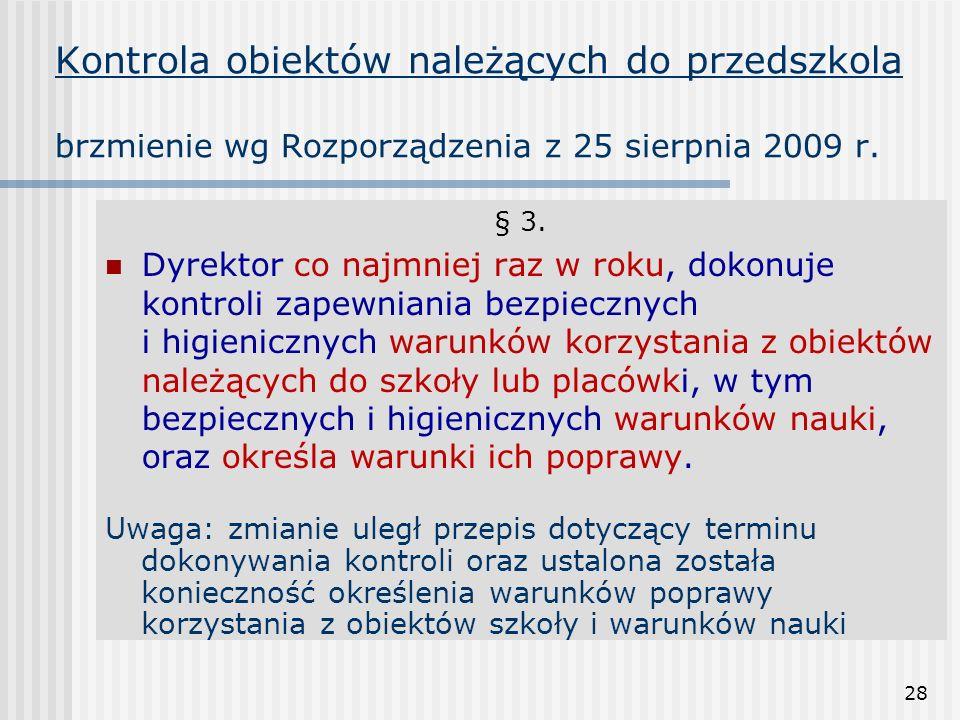 28 Kontrola obiektów należących do przedszkola brzmienie wg Rozporządzenia z 25 sierpnia 2009 r. § 3. Dyrektor co najmniej raz w roku, dokonuje kontro