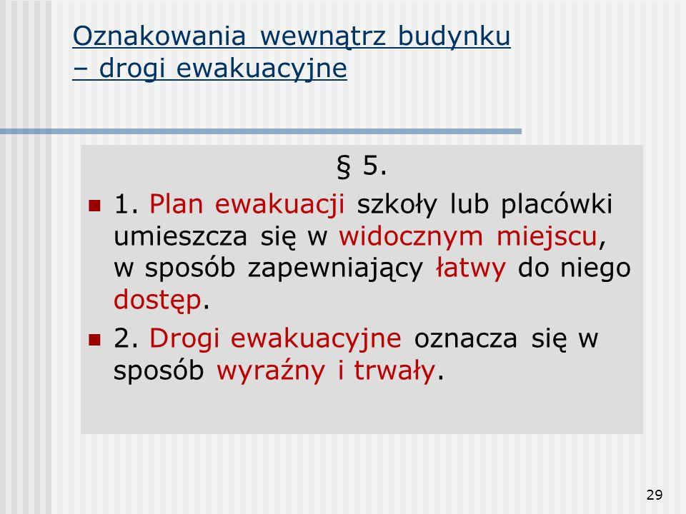 29 § 5. 1. Plan ewakuacji szkoły lub placówki umieszcza się w widocznym miejscu, w sposób zapewniający łatwy do niego dostęp. 2. Drogi ewakuacyjne ozn