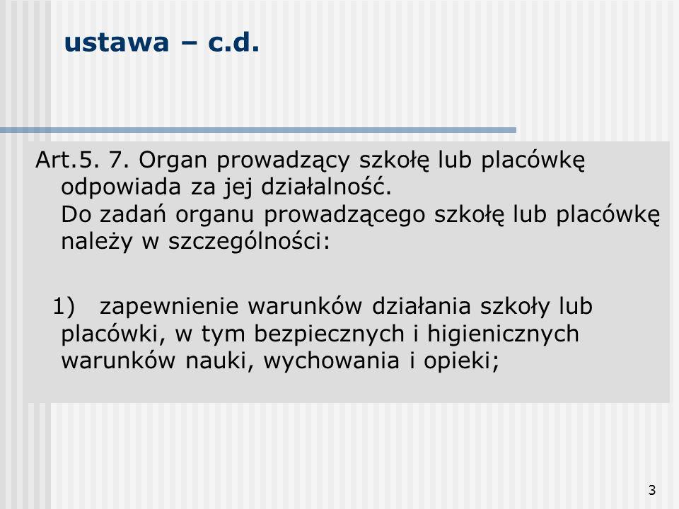 3 ustawa – c.d. Art.5. 7. Organ prowadzący szkołę lub placówkę odpowiada za jej działalność. Do zadań organu prowadzącego szkołę lub placówkę należy w