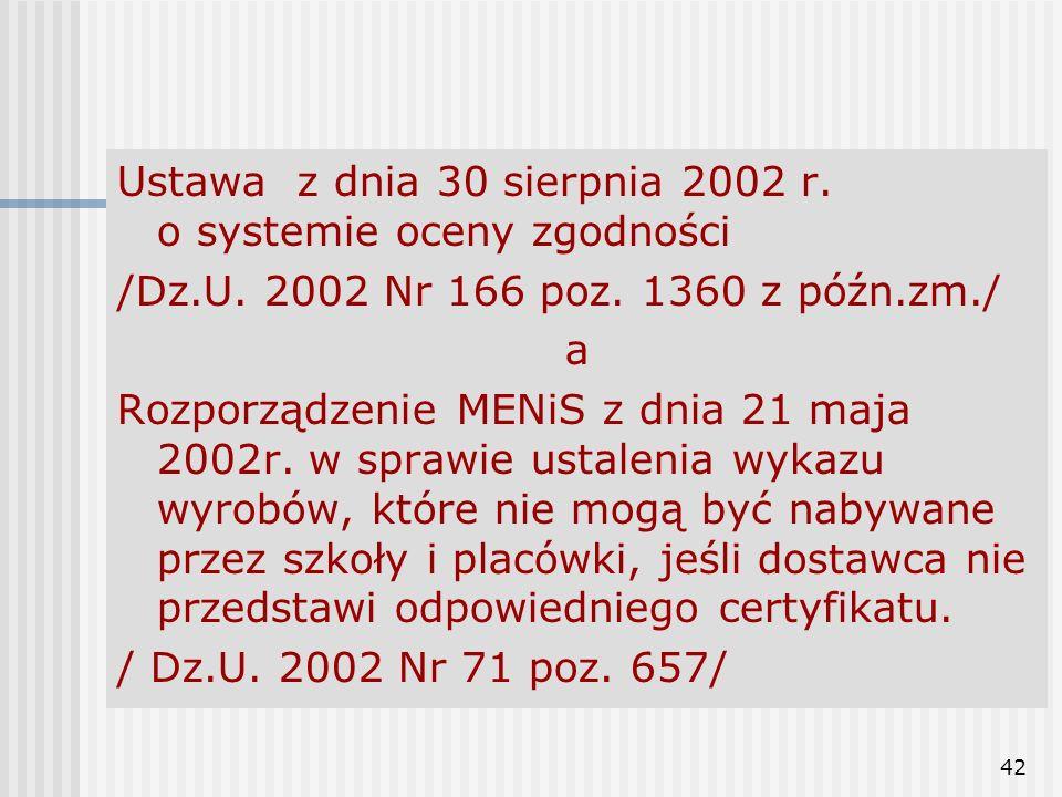 42 Ustawa z dnia 30 sierpnia 2002 r. o systemie oceny zgodności /Dz.U. 2002 Nr 166 poz. 1360 z późn.zm./ a Rozporządzenie MENiS z dnia 21 maja 2002r.