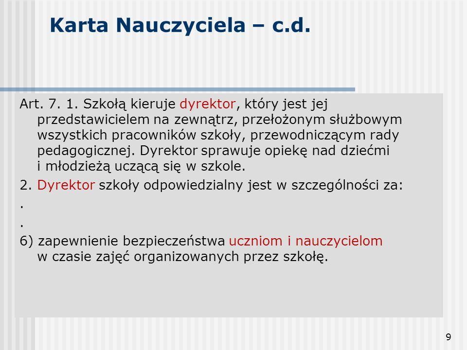 9 Karta Nauczyciela – c.d. Art. 7. 1. Szkołą kieruje dyrektor, który jest jej przedstawicielem na zewnątrz, przełożonym służbowym wszystkich pracownik