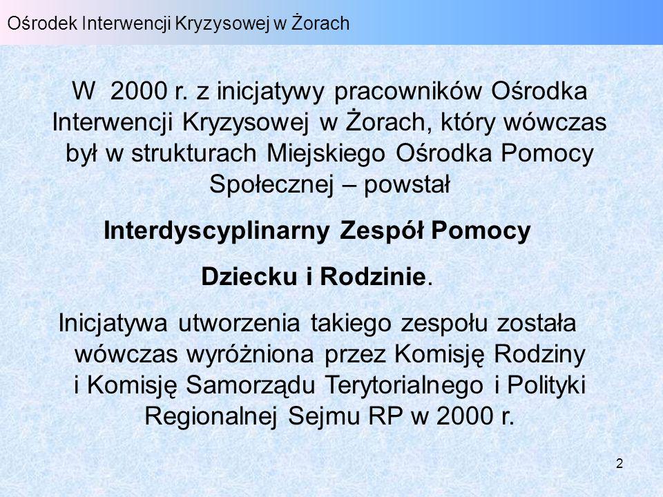 2 Ośrodek Interwencji Kryzysowej w Żorach W 2000 r. z inicjatywy pracowników Ośrodka Interwencji Kryzysowej w Żorach, który wówczas był w strukturach
