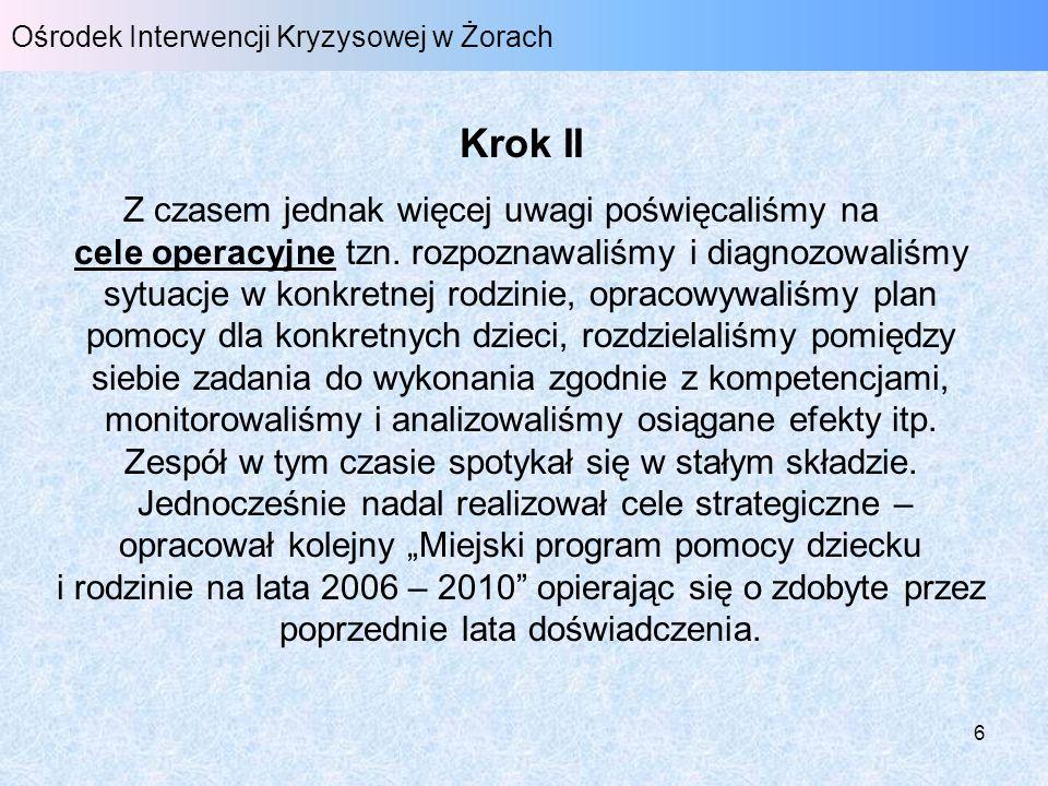 7 Ośrodek Interwencji Kryzysowej w Żorach Krok III Na przełomie lat 2007/2008 zespół postawił na cele doraźne.