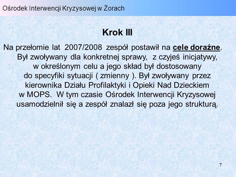 8 Ośrodek Interwencji Kryzysowej w Żorach Krok IV W 2008 r.