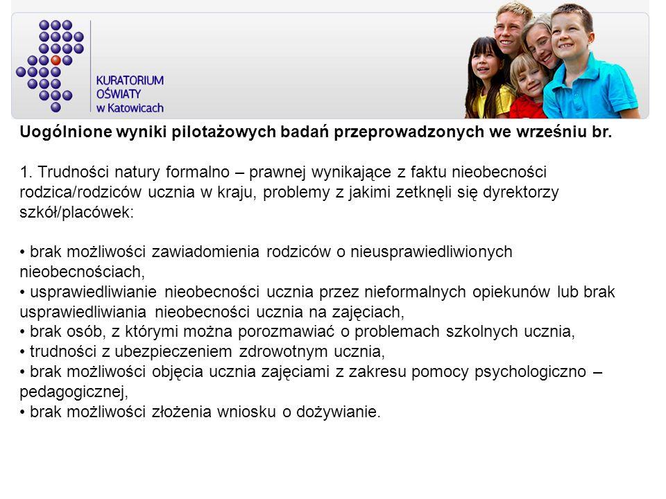 Uogólnione wyniki pilotażowych badań przeprowadzonych we wrześniu br. 1. Trudności natury formalno – prawnej wynikające z faktu nieobecności rodzica/r