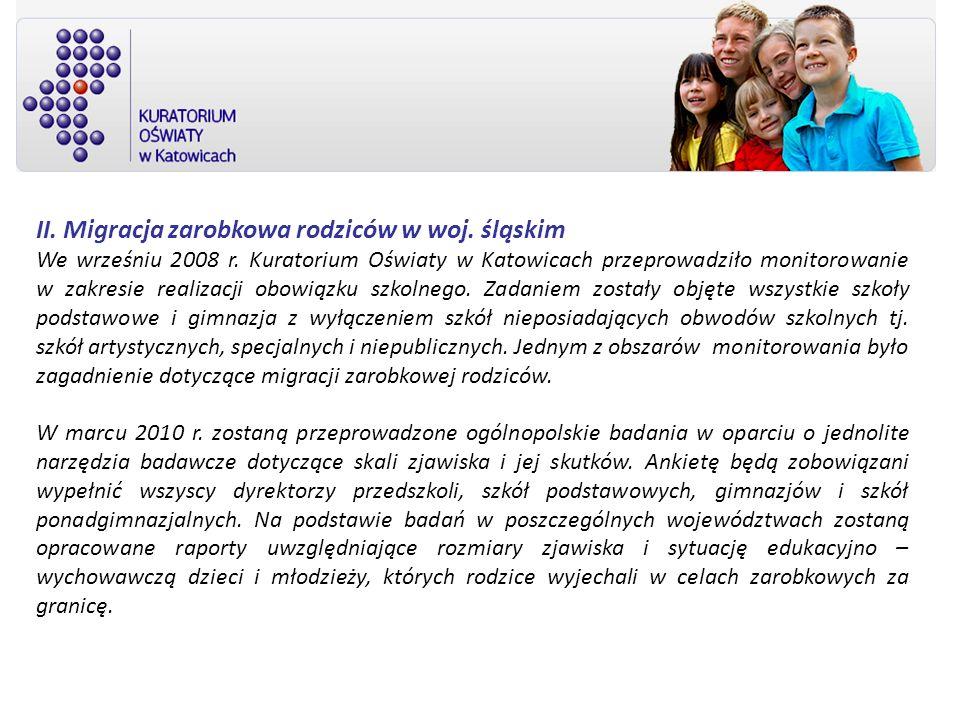 II. Migracja zarobkowa rodziców w woj. śląskim We wrześniu 2008 r. Kuratorium Oświaty w Katowicach przeprowadziło monitorowanie w zakresie realizacji