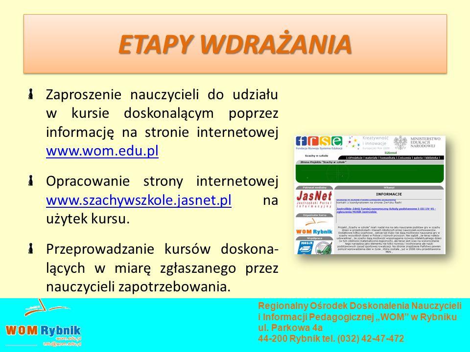 ETAPY WDRAŻANIA Zaproszenie nauczycieli do udziału w kursie doskonalącym poprzez informację na stronie internetowej www.wom.edu.pl www.wom.edu.pl Opra