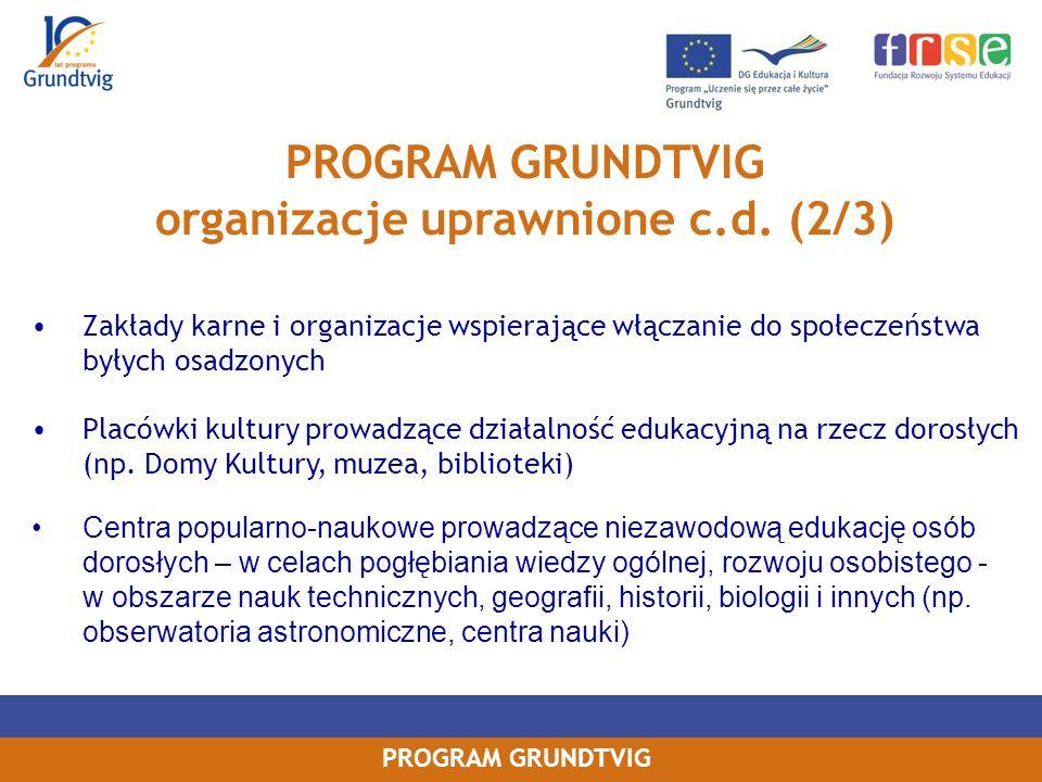 PROGRAM GRUNDTVIG organizacje uprawnione c.d.