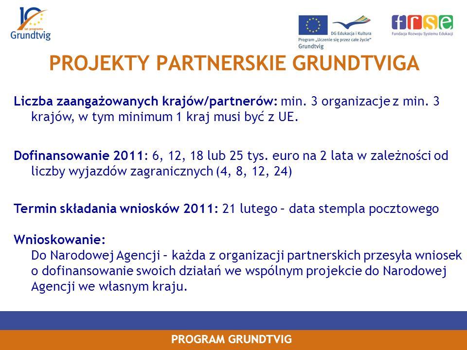 PROGRAM GRUNDTVIG PROJEKTY PARTNERSKIE GRUNDTVIGA Liczba zaangażowanych krajów/partnerów: min.