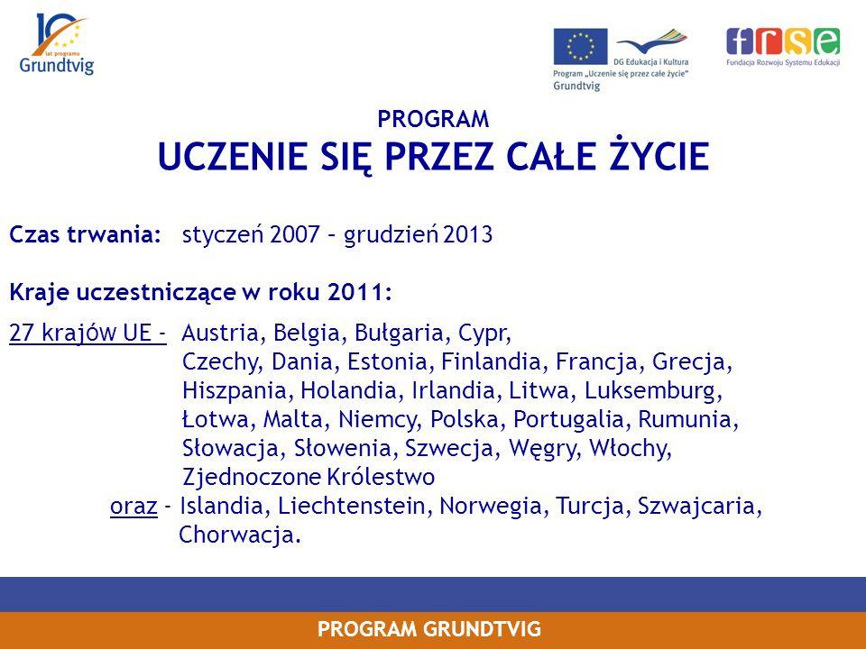 PROGRAM GRUNDTVIG PROJEKTY WOLONTARIATU SENIORÓW Wnioskowanie: -2 organizacje z 2 krajów (projekty bilateralne), w tym minimum 1 kraj musi być z UE, -każda organizacja wnioskuje do własnej Narodowej Agencji o własny budżet, -liczba seniorów wyjeżdżających na wolontariat z każdego kraju: 2 – 6 osób, czas wyjazdu od 3 do 8 tygodni, -sprawdź czy twoja organizacja znajduje się w wykazie instytucji uprawnionych Termin składania wniosków 2011: 31 marca (data stempla pocztowego) Czas trwania projektu: 2 lata (od 1 sierpnia 2011 do 31 lipca 2013)