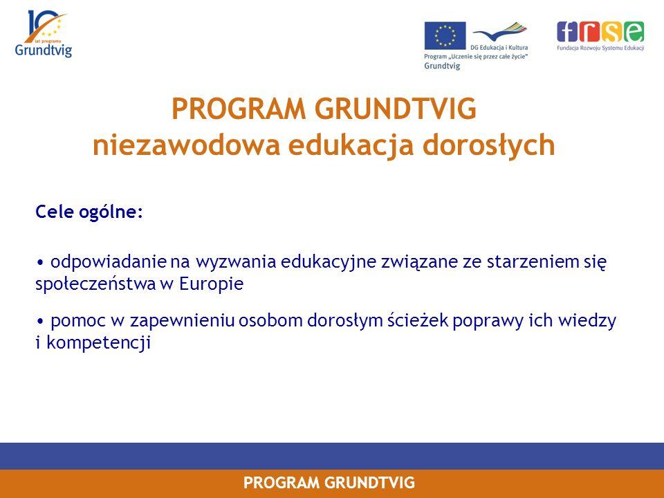 PROGRAM GRUNDTVIG Cele ogólne: odpowiadanie na wyzwania edukacyjne związane ze starzeniem się społeczeństwa w Europie pomoc w zapewnieniu osobom dorosłym ścieżek poprawy ich wiedzy i kompetencji PROGRAM GRUNDTVIG niezawodowa edukacja dorosłych