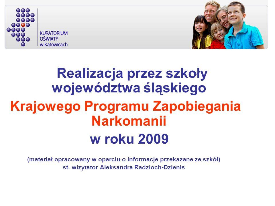 Realizacja przez szkoły województwa śląskiego Krajowego Programu Zapobiegania Narkomanii w roku 2009 (materiał opracowany w oparciu o informacje przek