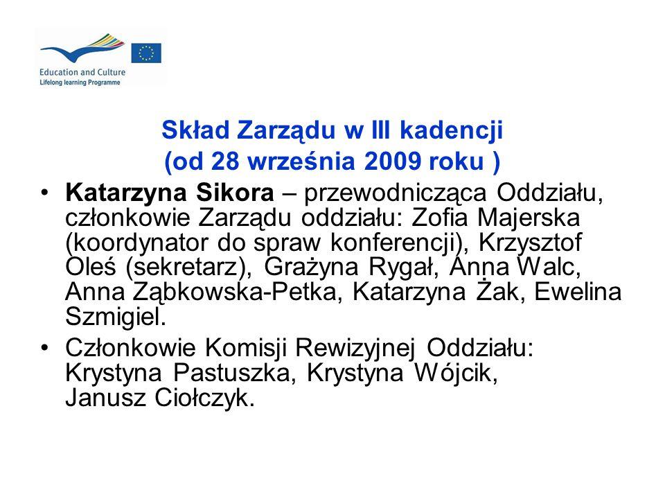 Skład Zarządu w III kadencji (od 28 września 2009 roku ) Katarzyna Sikora – przewodnicząca Oddziału, członkowie Zarządu oddziału: Zofia Majerska (koor