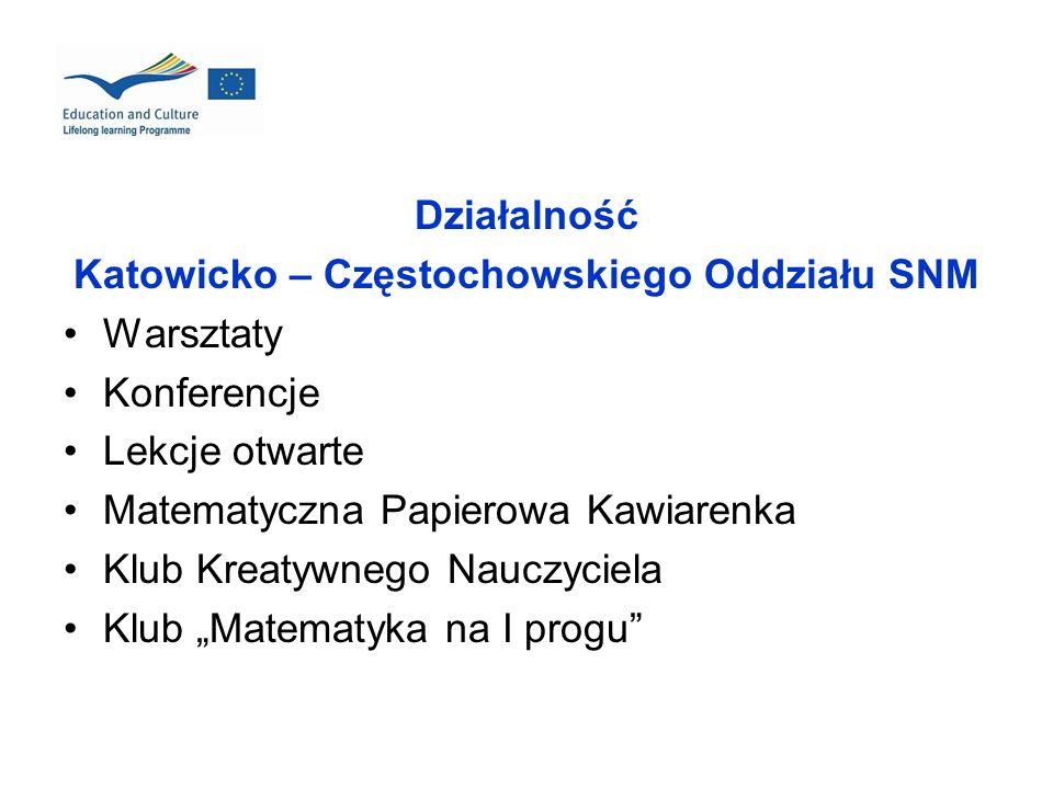 Działalność Katowicko – Częstochowskiego Oddziału SNM Warsztaty Konferencje Lekcje otwarte Matematyczna Papierowa Kawiarenka Klub Kreatywnego Nauczyci
