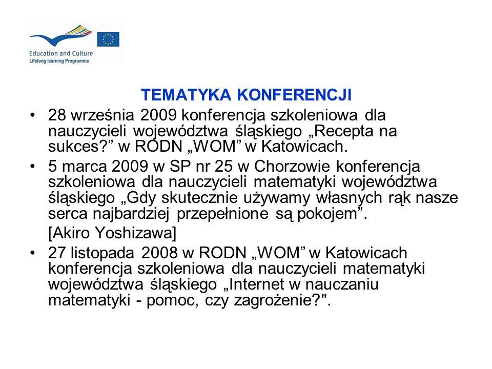 TEMATYKA KONFERENCJI 28 września 2009 konferencja szkoleniowa dla nauczycieli województwa śląskiego Recepta na sukces? w RODN WOM w Katowicach. 5 marc