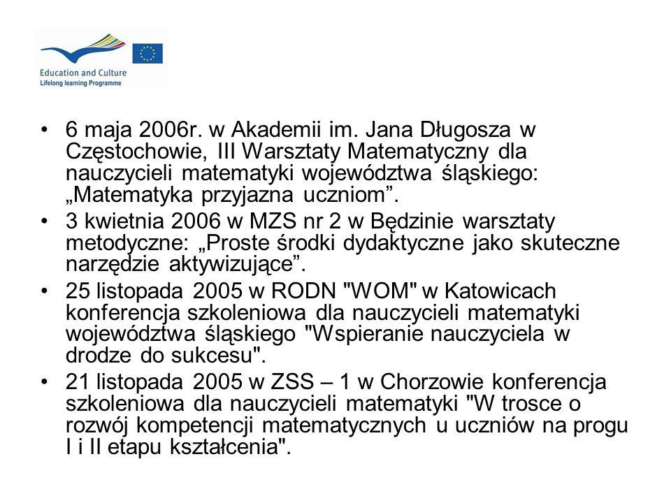 6 maja 2006r. w Akademii im. Jana Długosza w Częstochowie, III Warsztaty Matematyczny dla nauczycieli matematyki województwa śląskiego: Matematyka prz