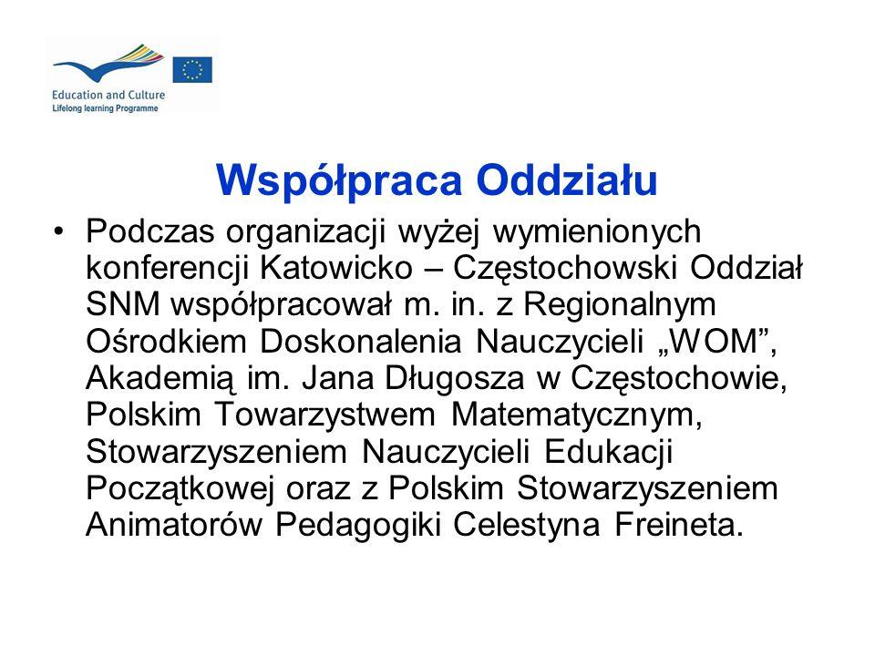 Współpraca Oddziału Podczas organizacji wyżej wymienionych konferencji Katowicko – Częstochowski Oddział SNM współpracował m. in. z Regionalnym Ośrodk