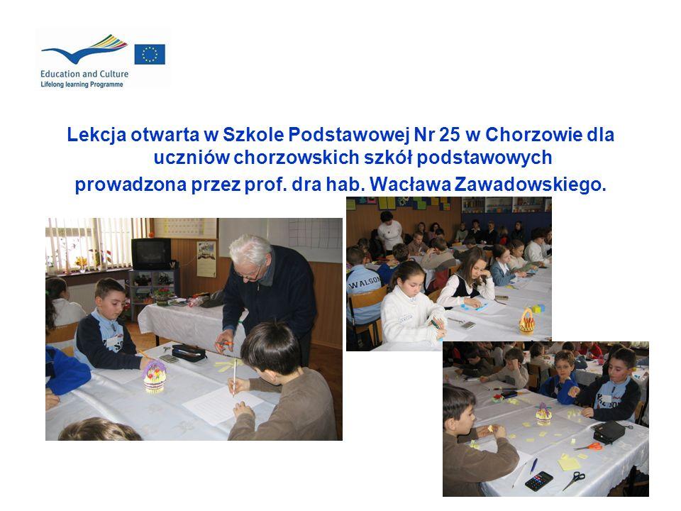 Lekcja otwarta w Szkole Podstawowej Nr 25 w Chorzowie dla uczniów chorzowskich szkół podstawowych prowadzona przez prof. dra hab. Wacława Zawadowskieg