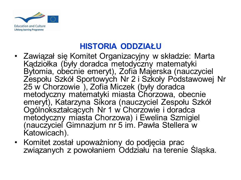 HISTORIA ODDZIAŁU Zawiązał się Komitet Organizacyjny w składzie: Marta Kądziołka (były doradca metodyczny matematyki Bytomia, obecnie emeryt), Zofia M