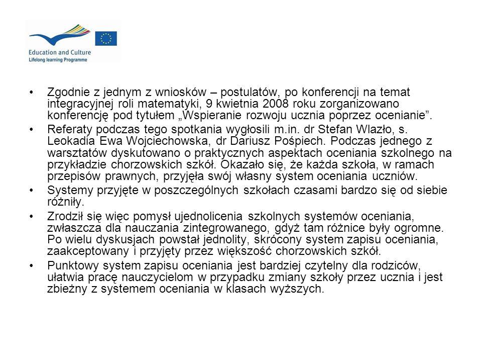 Zgodnie z jednym z wniosków – postulatów, po konferencji na temat integracyjnej roli matematyki, 9 kwietnia 2008 roku zorganizowano konferencję pod ty