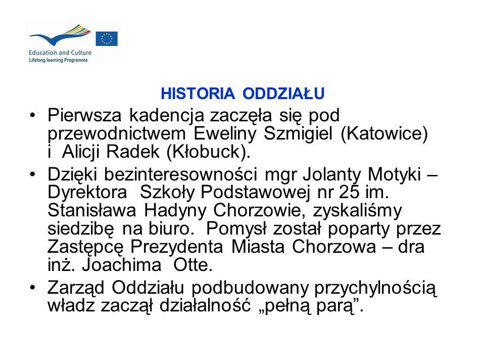 HISTORIA ODDZIAŁU Pierwsza kadencja zaczęła się pod przewodnictwem Eweliny Szmigiel (Katowice) i Alicji Radek (Kłobuck). Dzięki bezinteresowności mgr