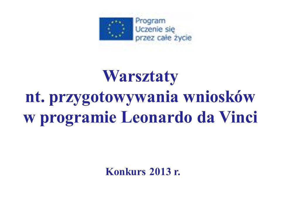Konkurs 2013 r. Warsztaty nt. przygotowywania wniosków w programie Leonardo da Vinci