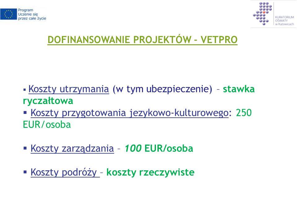 DOFINANSOWANIE PROJEKTÓW - VETPRO Koszty utrzymania (w tym ubezpieczenie) – stawka ryczałtowa Koszty przygotowania jezykowo-kulturowego: 250 EUR/osoba Koszty zarządzania – 100 EUR/osoba Koszty podróży – koszty rzeczywiste