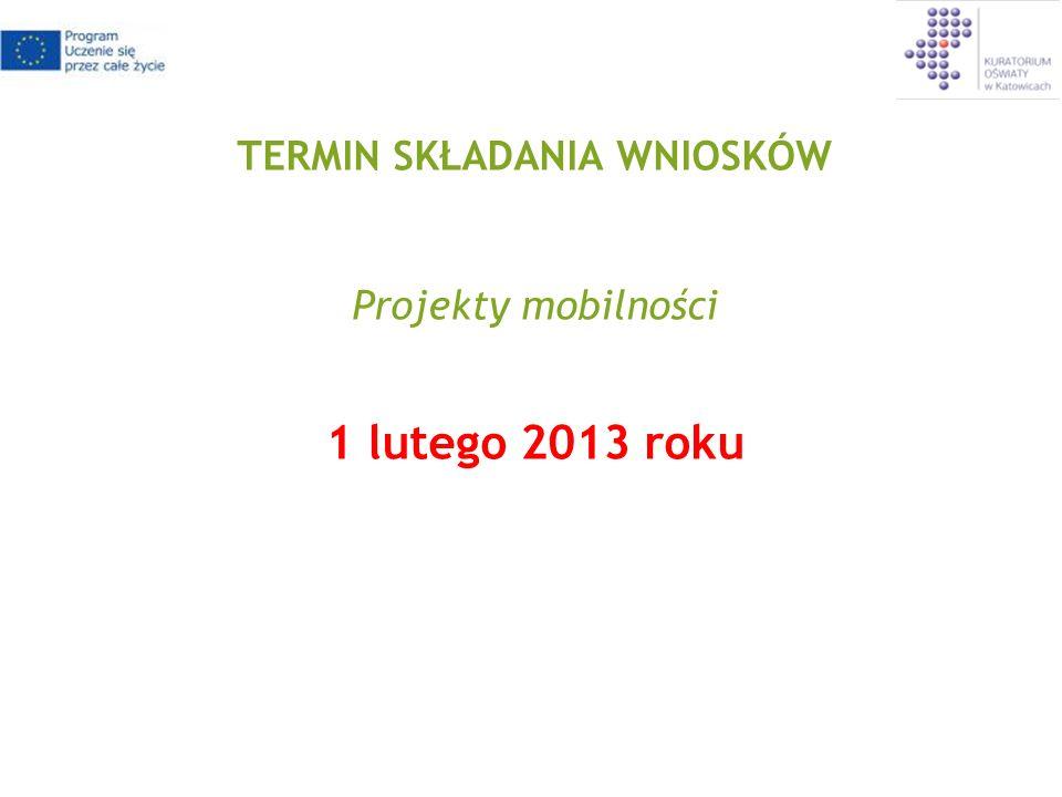 TERMIN SKŁADANIA WNIOSKÓW Projekty mobilności 1 lutego 2013 roku