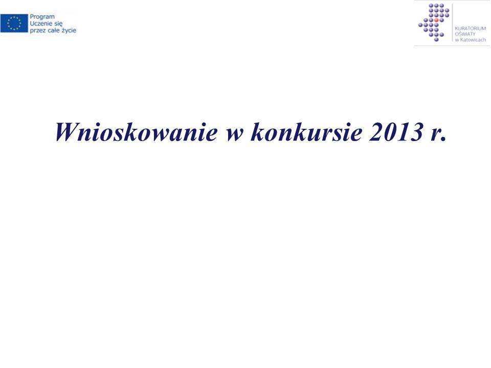 Wnioskowanie w konkursie 2013 r.