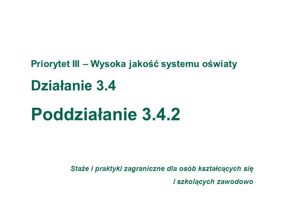 Fundacja Rozwoju Systemu Edukacji Priorytet III – Wysoka jakość systemu oświaty Działanie 3.4 Poddziałanie 3.4.2 Staże i praktyki zagraniczne dla osób kształcących się i szkolących zawodowo
