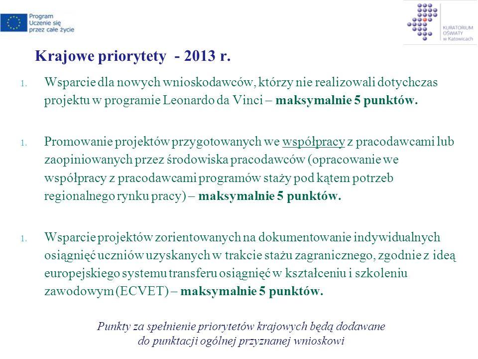 Krajowe priorytety - 2013 r. 1.