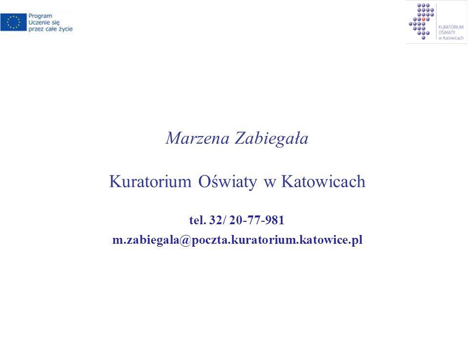 Marzena Zabiegała Kuratorium Oświaty w Katowicach tel.