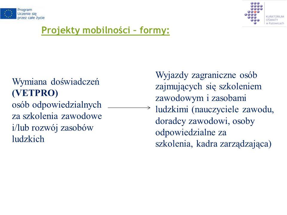 Projekty mobilności o Czas trwania projektu: do 2 lat o Minimalna liczba partnerów: 2 o Minimalna liczba krajów: 2