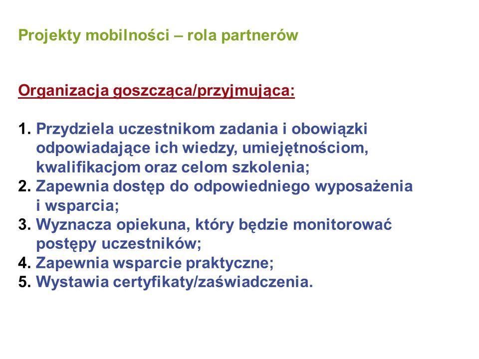 Projekty mobilności – rola partnerów Organizacja goszcząca/przyjmująca: 1.Przydziela uczestnikom zadania i obowiązki odpowiadające ich wiedzy, umiejętnościom, kwalifikacjom oraz celom szkolenia; 2.Zapewnia dostęp do odpowiedniego wyposażenia i wsparcia; 3.Wyznacza opiekuna, który będzie monitorować postępy uczestników; 4.Zapewnia wsparcie praktyczne; 5.Wystawia certyfikaty/zaświadczenia.