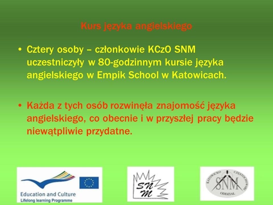Kurs języka angielskiego Cztery osoby – członkowie KCzO SNM uczestniczyły w 80-godzinnym kursie języka angielskiego w Empik School w Katowicach.