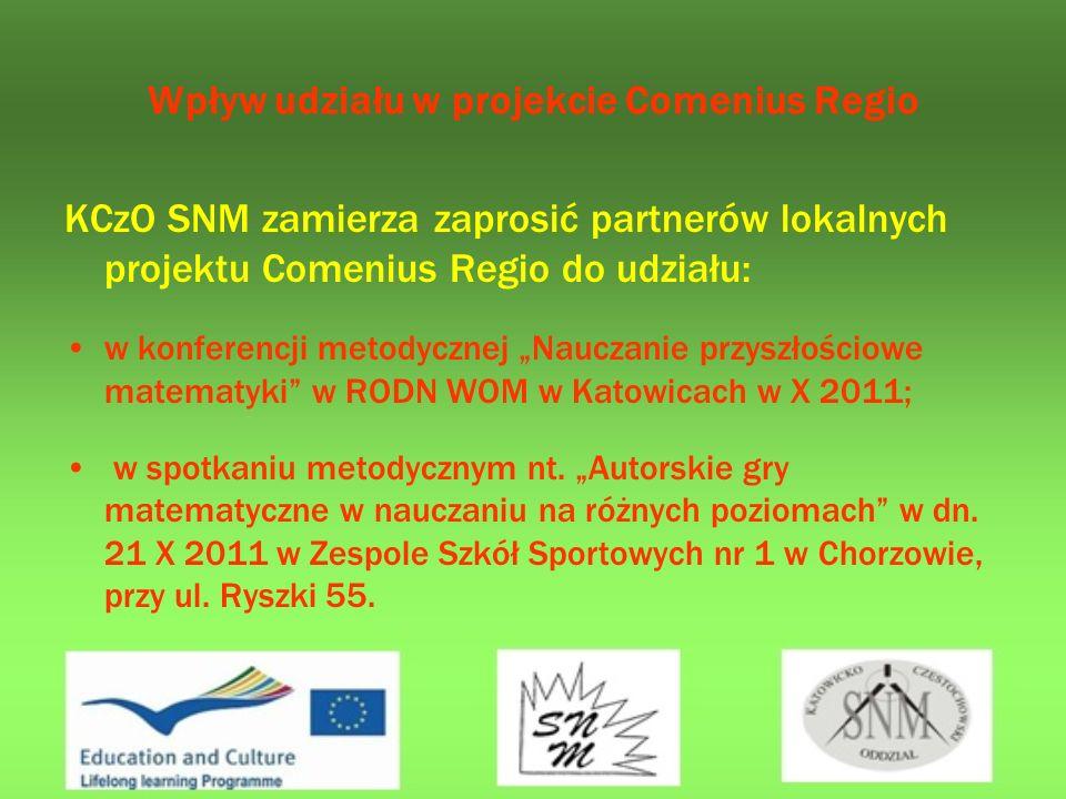 Wpływ udziału w projekcie Comenius Regio KCzO SNM zamierza zaprosić partnerów lokalnych projektu Comenius Regio do udziału: w konferencji metodycznej Nauczanie przyszłościowe matematyki w RODN WOM w Katowicach w X 2011; w spotkaniu metodycznym nt.