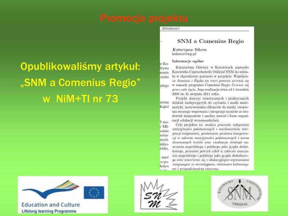 Promocja projektu Opublikowaliśmy artykuł: SNM a Comenius Regio w NiM+TI nr 73