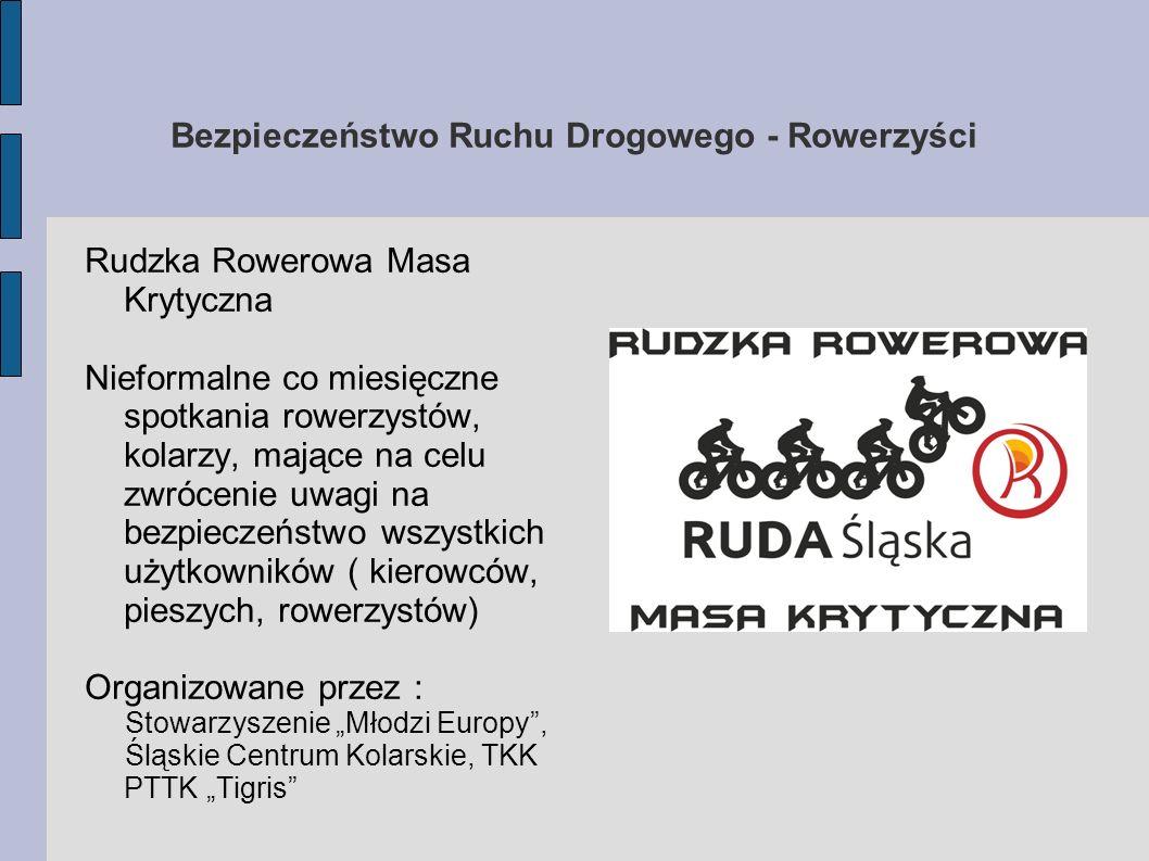 Bezpieczeństwo Ruchu Drogowego - Rowerzyści Rudzka Rowerowa Masa Krytyczna Nieformalne co miesięczne spotkania rowerzystów, kolarzy, mające na celu zw