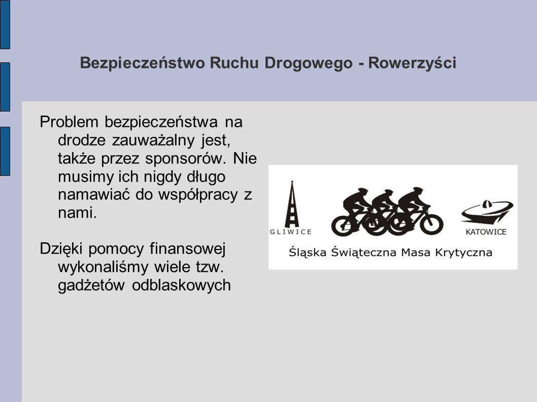 Bezpieczeństwo Ruchu Drogowego - Rowerzyści Problem bezpieczeństwa na drodze zauważalny jest, także przez sponsorów. Nie musimy ich nigdy długo namawi