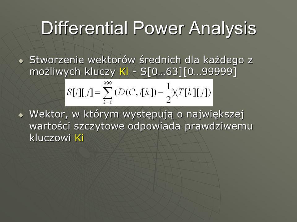 Differential Power Analysis Stworzenie wektorów średnich dla każdego z możliwych kluczy Ki - S[0…63][0…99999] Stworzenie wektorów średnich dla każdego