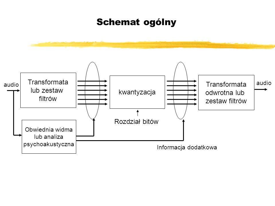 Schemat ogólny Transformata lub zestaw filtrów Obwiednia widma lub analiza psychoakustyczna kwantyzacja audio Transformata odwrotna lub zestaw filtrów