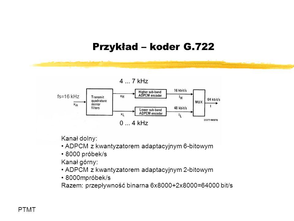 Przykład – koder G.722 PTMT Kanał dolny: ADPCM z kwantyzatorem adaptacyjnym 6-bitowym 8000 próbek/s Kanał górny: ADPCM z kwantyzatorem adaptacyjnym 2-