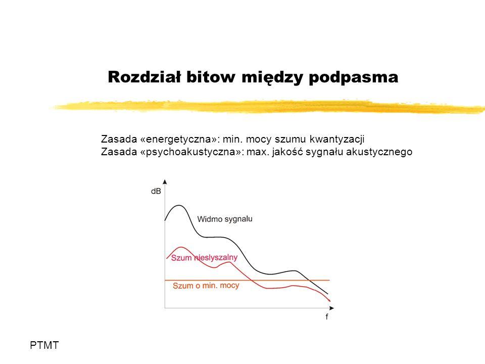 Rozdział bitow między podpasma PTMT Zasada «energetyczna»: min. mocy szumu kwantyzacji Zasada «psychoakustyczna»: max. jakość sygnału akustycznego